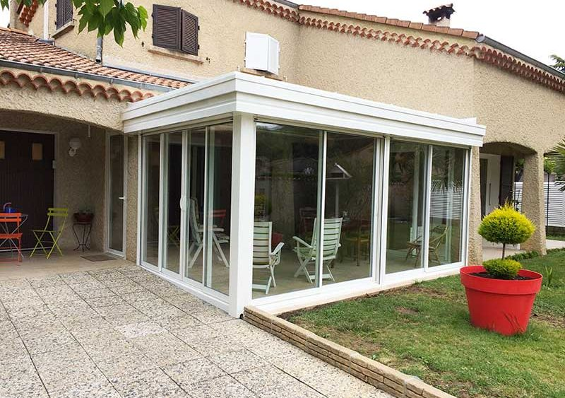 fabrication et installation de v randa toit plat dr me ard che. Black Bedroom Furniture Sets. Home Design Ideas